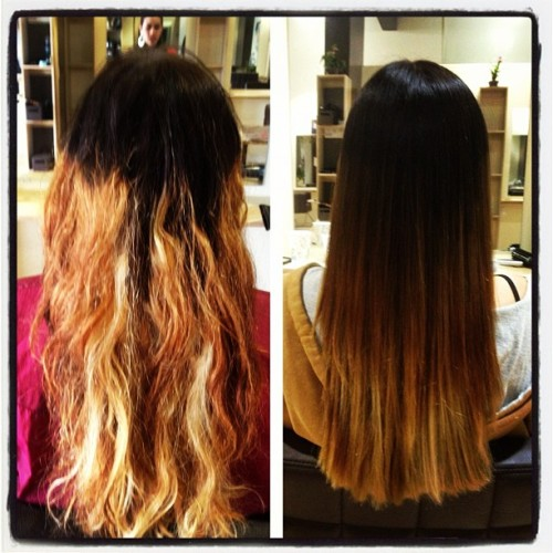 Color correction. This girl came to me after an attempted ombré by another stylist. #hairbylillyrose #thefigonthird #salon #hair #color #colorcorrection #ombre @thefigonthird  (at The Fig On Third)
