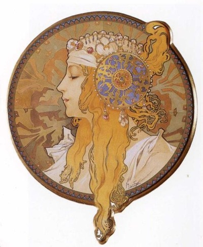 theartgeeks:  Byzantine Head. The Blonde, 1897 ~ Alphonse Mucha