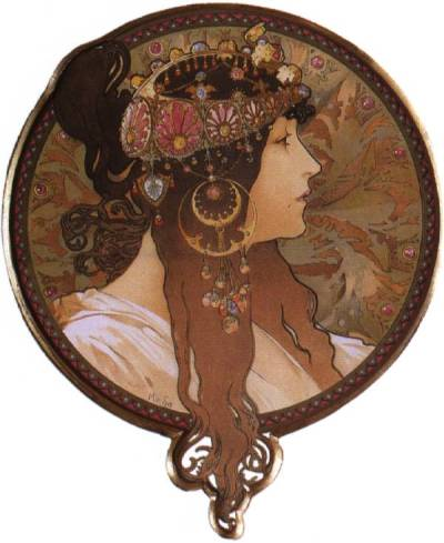 theartgeeks:  Byzantine Head. The Brunette, 1897 ~ Alphonse Mucha