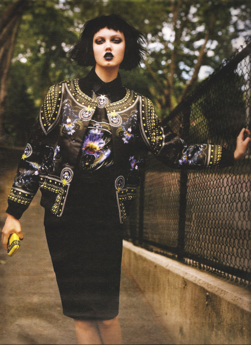 givenchy f/w 2011 rtw, lindsey wixson in 'scene on the street' by alasdair mclellan for w magazine august 2011