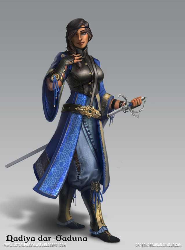 "Nadiya dar-Gaduna (depicted without full combat gear) For the second night in a row, Palit dar-Fadim was overwhelmed by the unusually heavy rain. His black and white uniform was waterlogged; its weight a constant annoyance. More pressingly, the storm obscured the balcony across the square below, which was already shrouded in darkness. They had been watching it for several days, observing guard movements and hoping to catch a glimpse of their target. Frustrated by the cloudy view through his drenched spyglass, Palit tucked it into the dryer part of his tunic and rubbed the lens dry. When he could finally focus on the balcony again, he was shocked to discover the guard he had been watching was gone.  He nudged his resting superior. ""Nadiya. Nadiya, the guard is gone.""  Her light sleep interrupted, Nadiya did not bother disguising her impatience with the rookie and snatched the spyglass from his hands.  ""It's just a shift change."" She frowned and dried the lens again, ""Wait… that's the same guard from before. Could there be only those two?""  ""Seems to be,"" he confirmed. As Nadiya peered at the balcony, Palit reached into his bag to retrieve his heavy coat.  ""What are you doing?"" she asked.  He froze in an awkward pose, jacket half-on, ""We're supposed to report back. Aren't we?""  ""Not with this advantage,"" she said. ""Two guards? They might have more by the time we get our orders. Now, Palit, is the time to strike.""  ""But—""  Nadiya, pointedly ignoring his withering objection, slid her coat off of her shoulders and tossed it aside along with the spyglass. Palit gulped; he still hadn't gotten used to the sight of his striking and shapely superior.   Nadiya quickly planned a route to their target and began to scale the side of the nearest building. Palit quickly shrugged off his coat and followed. The roof above offered a clear angle, and by the time he clambered onto the tiles she was already lining up her grappling hook. Timing the shot with a thunderclap, she expertly shot the hook from her left wrist and they watched as it latched securely to the top of the villa. Palit took the end of the rope and secured it to the building as Nadiya rotated her wrist tool clockwise, swapping the spent hook cartridge for a spring-loaded blade.    ""After you,"" Palit said, nodding towards the rope.    Nadiya grabbed at the rope and slid down, dramatically gaining speed as her momentum carried her across the square. The guard they had been watching did not have time to react before her boots landed on his sternum and he collapsed. Not wasting any time, Nadiya thrust her blade through the guard's exposed throat, silencing him.  Palit followed down the rope, dropping clumsily beside her on the second floor balcony. She spared him an amused grin before hiding it behind her protective mask. He donned his own, and simultaneously they opened fuel valves and lit the pilot lights under their right wrists.  Nadiya shuffled over to the door leading inside.  ""Flash bomb,"" she whispered, voice muffled, ""then we grab the target.""    As she gently cracked the door open, Palit drew the stun device from his belt loop and rolled it through the opening.  After waiting what he thought was the appropriate amount of time, he kicked the door open. Unfortunately, his timing was off, and the flash bomb exploded in his face.  Typical, Nadiya thought with a sigh.  She charged in past her stunned comrade and quickly surveyed the room. She stood on a narrow second level with a view down into the first floor. Three green-clad guards wobbled in their places surrounding a table in the center of the room. As soon as they regained their sight, she and Palit would be outnumbered. Looking up, a massive gilt chandelier loomed over the table and she took aim with her flamethrower, which launched a plume of fire at the rope fixing it to the ceiling. The rope quickly caught flame and, in a matter of seconds, snapped. The chandelier crashed down atop all but one disoriented guard.  Nadiya vaulted over the handrail and landed gracefully on the floor below.  The guard had recovered enough to confidently draw his sword before swiftly closing the gap between himself and the intruder.    She parried his first swipe with her wrist blade and followed up with a kick to his chest to create some distance between them. Judging she did not have the time to draw her sword nor the space to set him ablaze, she smothered the pilot light and sprayed liquid fuel into the charging guard's face. Stunned and blinded again he instinctively turned away, which gave Nadiya the opportunity to grip his head and twist. With a sickening crack he fell limp, and his body landed on the floor in a heap.  The fire started by her destruction of the chandelier had grown rapidly and embers had begun descending from the ceiling, spreading the blaze everywhere. It was then she heard Palit shout: ""There he is!""  He pointed down a hallway toward their target.   Brushing the smoke from her field of view, she caught a glimpse of the figure fleeing down a stairwell as Palit descended from the balcony in pursuit of him.  Before she could follow, another door swung open and four more green-clad men poured into the room between her and her comrade.  She did not have time for this and wasn't about to waste any. Snatching a grenade from her belt, Nadiya threw it beyond the enemy reinforcements where it ricocheted off the wall and landed at their feet before unleashing its devastating destructive properties, sending the guards flying and damaging a column already weakened by fire. Thoroughly compromised, the structure began to give in all around her and the roof over the stairwell leading to the basement caved in, blocking her off from Palit and the target.  With no option other than to escape, Nadiya searched for the nearest way out and observed a clear path towards a glass window on the opposite end of the building.  She burst forward, building up steam and bringing her arms up to protect her face before launching herself through the window.  As she landed, she tucked into a roll and was covered in a thick layer of mud and shattered glass before finally coming to a halt.   She saw reflected in a puddle next to her the image of the burning building, and silhouetted against it, a dozen figures marching towards her. She whipped her head around to get a better look at the threat, but she she recognized their uniforms as her own. With a sigh, she picked herself up out of the mud and straightened her posture to meet the icy stare of her commander, Haifa dar-Fadim.  ""This is the last 'accident' of yours we will ever be cleaning up.""  Blurb by upsettingshorts, art by psdo."