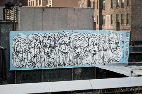 'Betten' -2012, New York. More art along Chelsea's High Line, by NY artist Jordan Betten. Find his work HERE and HERE.