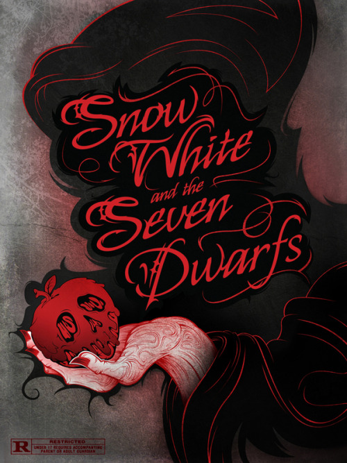 fairytalemood:  Snow White and the Seven Dwarfs movie poster concept by Joseph Le