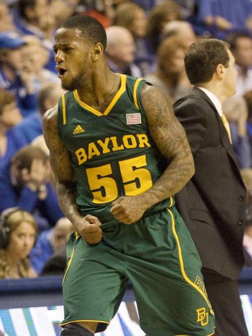 Baylor guard Pierre Jackson celebrates Saturday during the Bears' 64-55 win against Kentucky at Rupp Arena. The Bears' win snapped a 55-game home winning streak for the Wildcats, the current longest in NCAA Division 1. (Credit: USA Today)