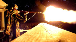 "Muzzle flash… The rather common ""fireball"" from a Mosin Nagant carbine, in this case an M38 but you'll see the same result from an M44 or M91/59. Definitely more impressive at night, there is some complaint that this is also illustrate the wasted energy from the shorter barreled Mosins. Regardless, I wouldn't want to be on the other end to experience what wasted ballistic energy there is."