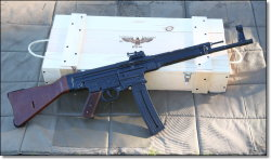 ATI StG-44 The .22 LR copy of the famous German rifle that changed the modern battlefield. They are all shipped in a wooden crate, minus the swastikas of course. A follower asked why do most .22 LR rifles and handguns have magazines with side cutouts. From what I read it is meant to help with easy reloading and quick round count assessment. The .22 LR semi-autos were never meant to be military grade firearms to be used on the field. A magazine with a side cutout would be susceptible to debris and dirt which could cause jamming.