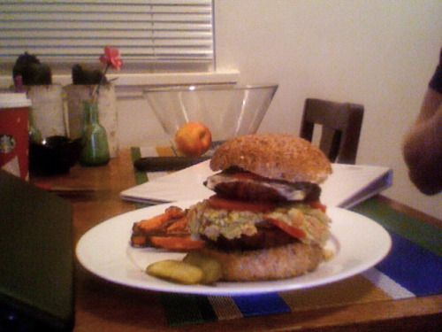 "my boyfriend just made himself a 'midnight snack' a.k.a a two patty turkey burger with homemade yam fries & guacamole. his comment after two bites in: ""looks like i might have to take this one open-faced."""