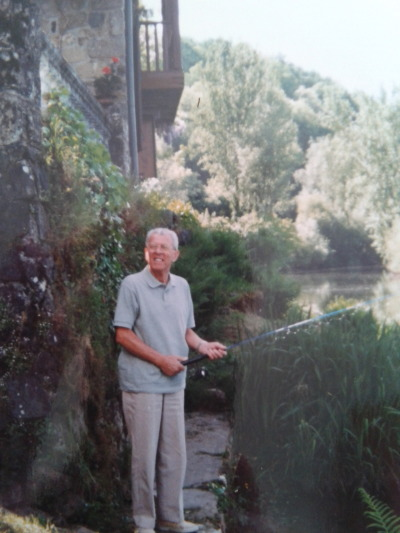 Grandpa fishing in France