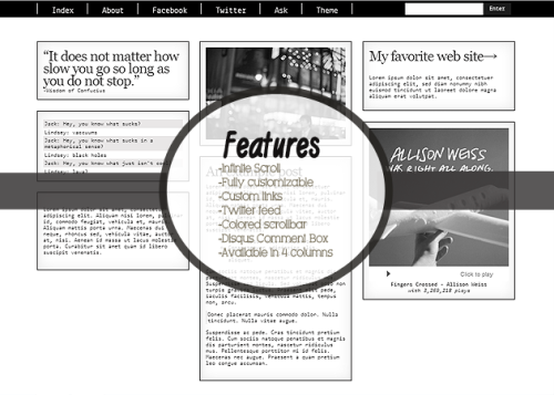 Layout Title: GRAY Main Features: -Infinite Scroll -Fully customizable; Colors,Background,Links,Back to Top image -Twitter -Colored scrollbar -Disqus Comment Box -Switchable into 4 columns PREVIEW | INSTALL