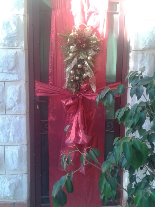 Christmas door decorations are up