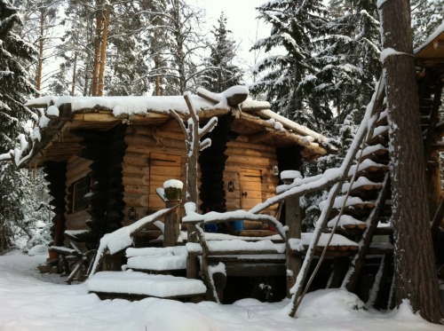 Off-grid log cabin in Sweden handbuilt by Eetu Puurtinen in 2008. View more of his work here.