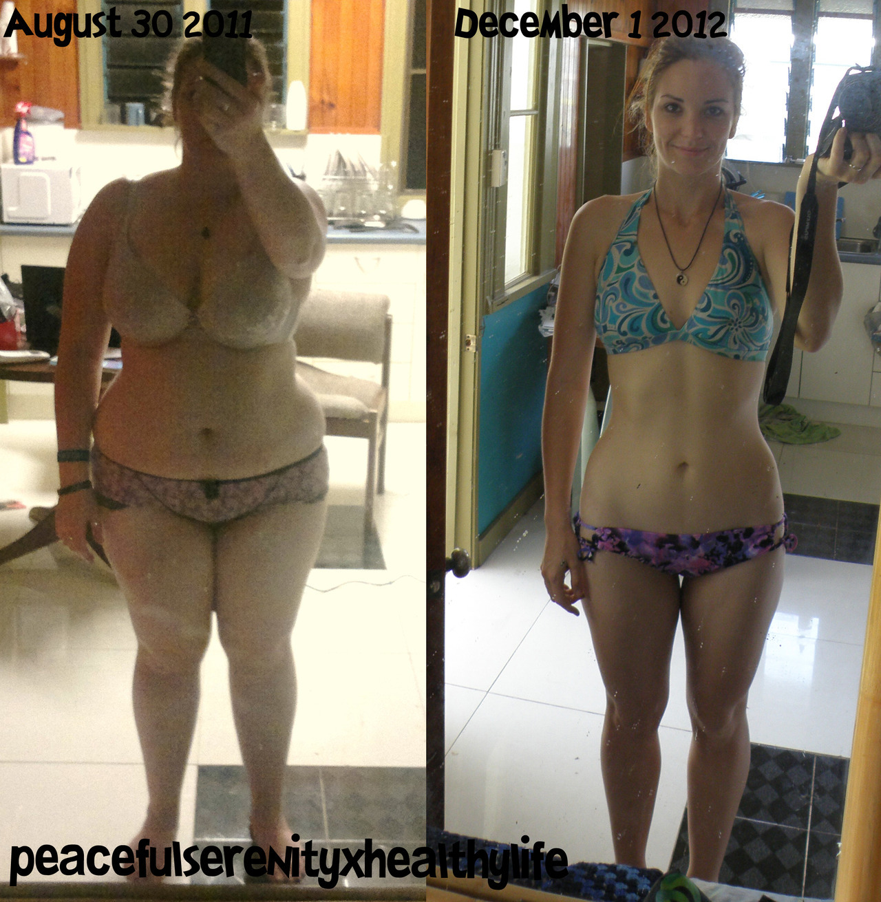 peacefulserenityxhealthylife:  BEFORE AND AFTER! :D August 30 2011: 111.5kgs/ 245lbs December 1 2012: 72.5kgs/ 159lbs Total weight loss over 1 year, 3 months: 39kgs/ 86lbs So, wow?! What an experience this past year has been, as you can see. I went through the grueling process of changing my life shortly after someone mistook me for my pregnant best friend. Needless to say, that was the jab in the heart that I needed to make me re-evaluate my life's choices. As I'm sure it's evident to most who've lost weight/are in the process, the beginning is always the most difficult. It's reassessing food choices, changing those habits that lead us down the path of internal (and external!) destruction. After a few months, the exercise became easier- enjoyable I'd go as far to say. Actually, I just got BETTER. Healthy choices were becoming my own preferred choice and my life began to hit the exponent. Through dedication, sweat (alot, of sweat) and unwavering drive to succeed the ultimate health and fitness for myself, I blasted through 39kgs of unhealthy fat holding me back in more ways than one. Now, no longer do I hide my body behind long clothes. Anything more than the acceptable bare minimum is a little bothersome to wear! I'm proud of what I've achieved, I'm proud to finally feel comfortable in my own skin. My mental strength has improved dramatically, that's a given after pushing myself beyond what I thought my limits were so many times. I've realised a few somethings along this journey: You only get out what you put in. When you're at your maximum and think you can go no further, that is where it counts. That is where you drill your mind to sculpt yourself into who you want to become. When you've given your all, give a little more. It's what separates you from the rest. Health is the only thing that matters in this world. Without it, what do we have? Exactly. So it is now that I invite you to share your success story. What have been your victories? What are your strengths? Where have you surpassed your own beliefs in what you thought possible? Create a post, no matter where you're at in your journey. The smallest of victories are just as important as major successes. Let me know of your post, I want to read your stories. I want to be inspired further. Without the support, compliments and you lovely people- this journey for me never would have continued. So, thank you. x Danielle.