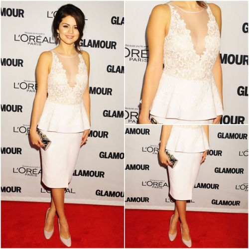 red carpet OUTFIT OF MONTH: November ♥ ‏ Selena wears: Giambattista Valli Spring 2013 RTW Peplum Dress Rupert Sanderson Winona Patent Leather Heels Le Vian Amethyst Diamond Earrings Graziela Gems Millenium's Fusion Ring