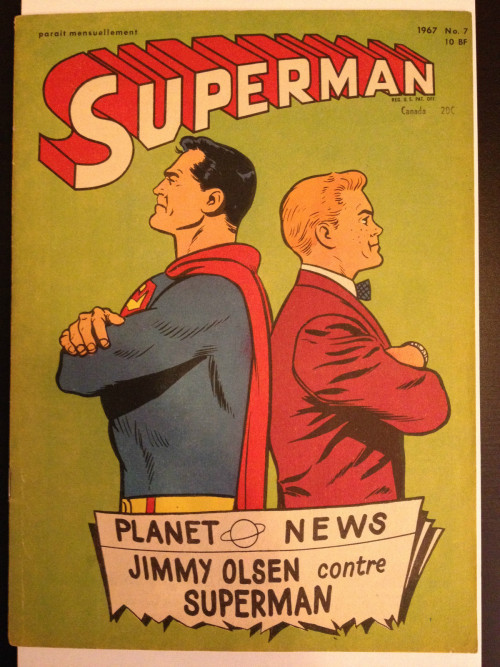 Superman and Jimmy Olsen become enemies and it makes the front page of The Daily Planet!  This is an original cover for a French reprint of Superman comics.  Reprinters in other countries often used new covers to collect material from multiple issues and/or characters.  This looks either like a really clean blow-up or an excellent trace of interior comics art by Curt Swan.