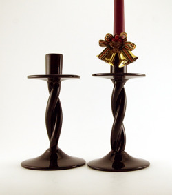 "Pre Designer Blenko Black Amethyst Twist Candlestick Holder Set Rare Early Blenko Art Glass rope twist candle holders from the 1940s. Hand-made in Black Amethyst.  Bewitching color looks black until light shines through. Very hard to find.  Designed by Bill Blenko Sr., himself, in the 1940s.  Bill Blenko was among the few first glass designers that launched the studio glass movement of the mid-20th century.  Hefty, solid hand-made glass.  Each holder weighs 1 lb.  Designed for beauty and function.  Large 4½"" wide domed foot stabilizes the holders.  Flat 4"" wide collar catches the dripping wax.  Wide 1"" candle cup accomodates multiple candle sizes.  Stunning beauty attracts attention.  The perfect candlesticks. In perfect condition with light bottom-wear (expected on antique and vintage glass).  Nice tight rope twists.  Stand 8.75"" tall.  Unique gift idea!"
