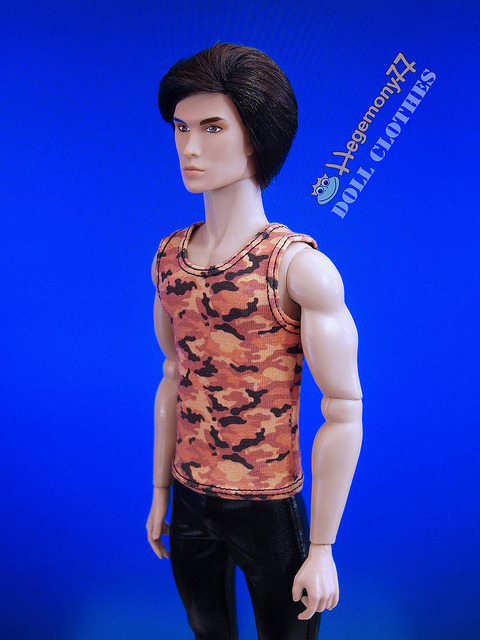 Fashion Royalty Homme in 1/ 6 scale orange camouflage singlet and shiny black patent leather pants on Flickr.Doll clothes and photo made by Hegemony77