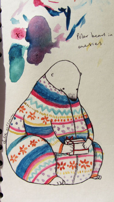 Polar Bear in a Christmas Onesie Taking a break from painting these to photograph some new/ old stuff to put on Etsy