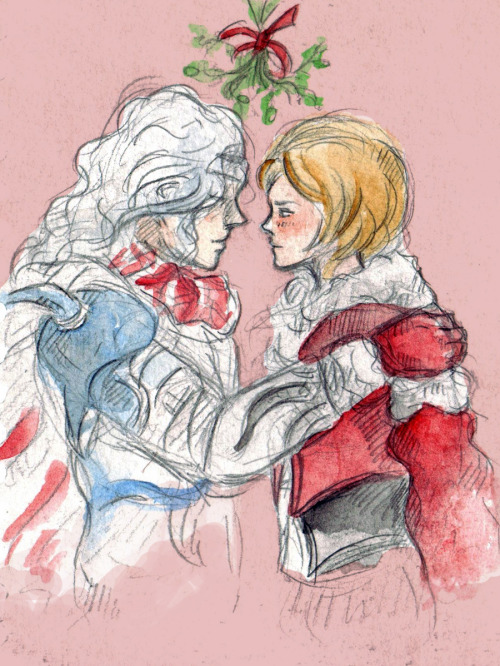 For Tigull and Nida because drawing characters under the mistletoe is fun-