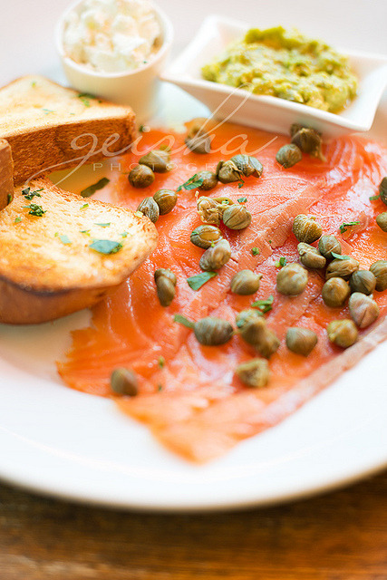 clottedcreamscone:  11/52 : food… smoked salmon with capers, goats fetta, avocado & house made brioche… by ~ geisha ~ on Flickr.