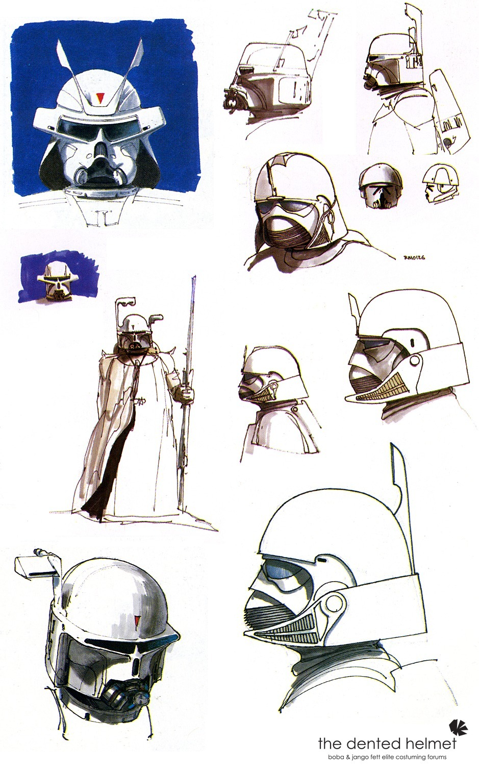Early Darth Vader sketches by Ralph McQuarrie that were later used as inspiration for Boba Fett's design.