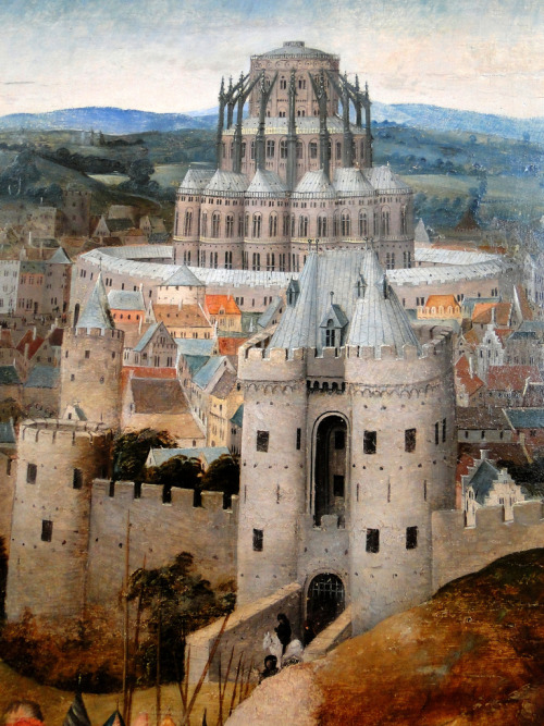booksnbuildings:   Copy of The Road to Calvary by Jan van Eyck (c1390-1441): detail Museum of Fine Arts, Budapest (Hungary) +