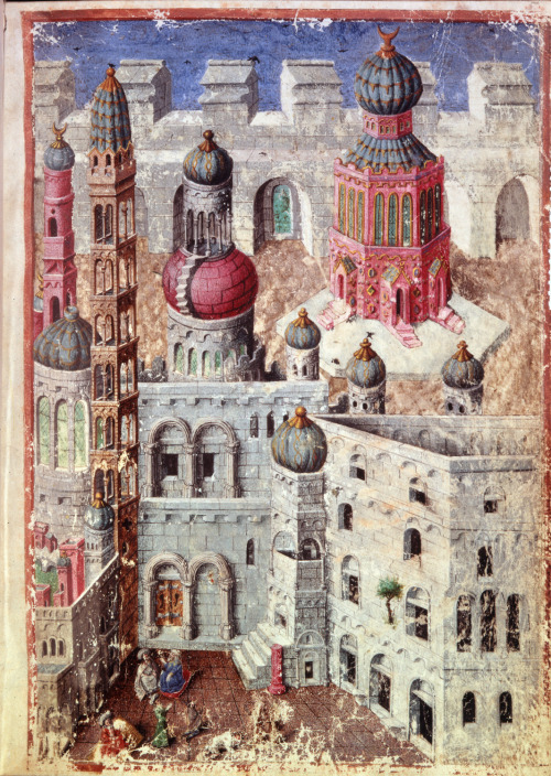 booksnbuildings:  Imaginary city, illumination from a French book of hours, c.1410 +  Book of Hours, Use of Paris ('The Hours of René d'Anjou')Egerton Master
