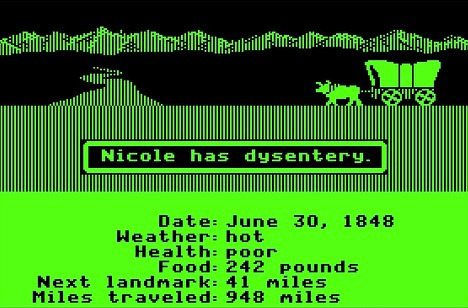 "mn70s:      Screen Shot of Early-Generation ""Oregon Trail"" Don Rawitsch, a student teacher in North Minneapolis, was struggling to find a way to make the concept of westward expansion interesting to the kids in his history class. Then he hit on a radical idea: why not create a computer game in which the students could assume the role of a wagon leader guiding a party of settlers through the American West? (Remember, this was way back when computers were the size of Ford Pintos.) With help from a pair of fellow Carleton College students, he developed a game called ""Oregon Trail,"" and on December 3, 1971, he introduced it to his class. It was an instant hit. A couple years later, Rawitsch took a job with Minnesota Educational Computing Consortium (MECC), a state-funded developer of educational software. He uploaded ""Oregon Trail"" to MECC's time-sharing network, and the game won a slew of new fans. When MECC made the jump to Apple II computers in 1978, ""Oregon Trail"" migrated to the new platform. It soon established itself as the premiere educational computer game, played by millions of kids worldwide. Image via ENGL 278W      And City Pages did an article on the evolution of Oregon Trail in January, 2011."
