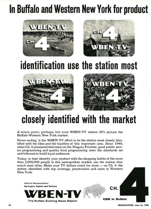 fadedsignals:  This blog earlier had an entry about WBEN-TV in Buffalo, N.Y.  Here's an advertisement from a few years later. Here's a look at clip from a Channel 4 newscast after the switch from WBEN to the WIVB call letters: