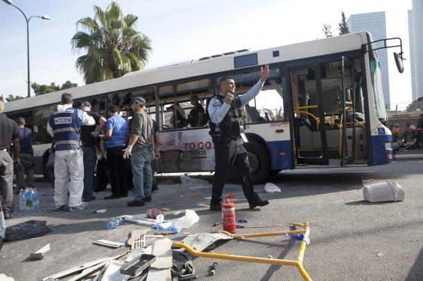 Bus Bombed in Tel Aviv As Gaza Conflict Continues  Israeli security forces respond to a bus bombing in central Tel Aviv, November 21, 2012. Ten people were injured in the blast that complicated diplomatic efforts for a ceasefire between Israel and Hamas in Gaza. UPI/Mati Milstein