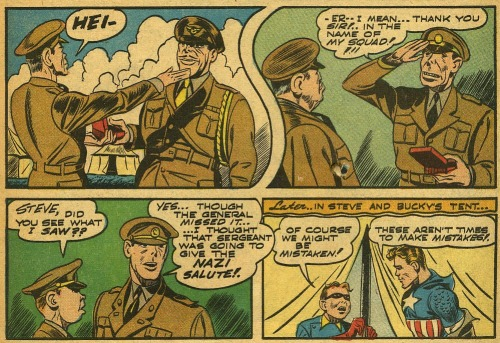 seanhowe:    Captain America Comics #11. Art by Al Avison and Syd Shores. Words by Stan Lee.