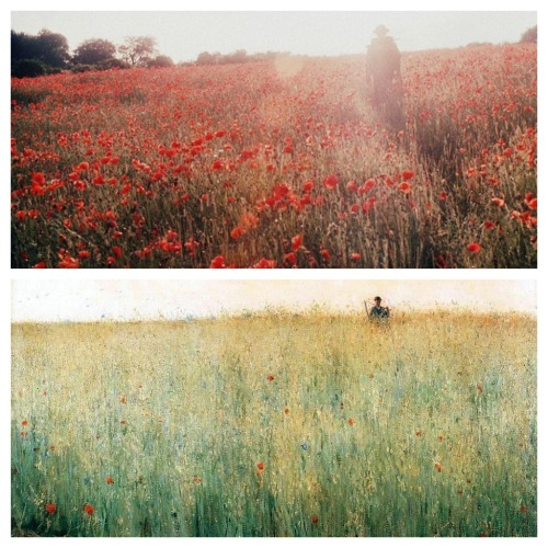 thestorycanresume:  Atonement vs Oat Field, Grez by Karl Nordström When movies are like oil painting.