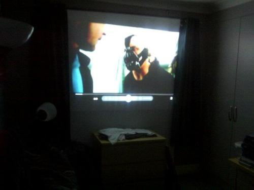 "Absolutely love having a projector. Cinema in my room, I don't think I'll leave the house again this winter. ""Or perhaps he's wondering why someone would shoot a man, before throwing him out of a plane!"""