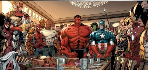 docawesome:  In the middle of their war with the X-Men, The Avengers decide to take one night off for a proper Thanksgiving dinner