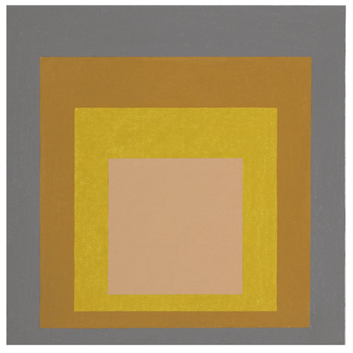 "Josef Albers, 1888-1976) Homage to the Square, signed with artist's monogram and dated 'A57' (lower right) oil on masonite. 24 x 24 in. (60.9 x 60.9 cm.) Painted in 1957.""They contain simple, great statements such as: I'm standing here. I'm resting here. I'm in the world and on earth. I'm in no hurry to move on. While Mark Rothko sought transcendence, Albers looked for fulfillment here on earth. Mark Rothko approached the ethereal through art. Josef Albers realized 'the spiritual in art'"" — H. Arp quoted in W. Schmied, ""Fifteen Notes on Josef Albers"" trans. by B. Barrett and Claudia Deniers in Josef Albers, exh. cat., London, 1989, pp. 9-10."