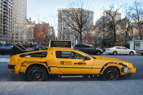laughingsquid:  A DeLorean as an Iconic New York City Yellow Taxi Cab