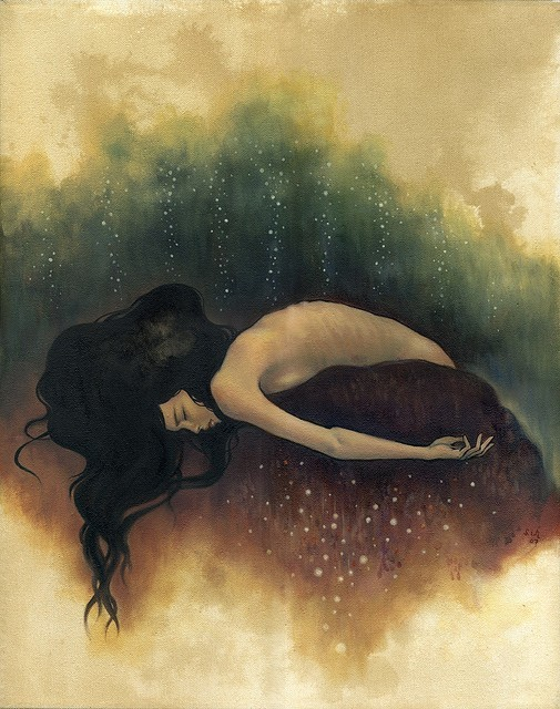 "Adrift by Stella Im Hultberg 16""x20"". Oil and Ink on Canvas.  (via 2headedsnake:)"
