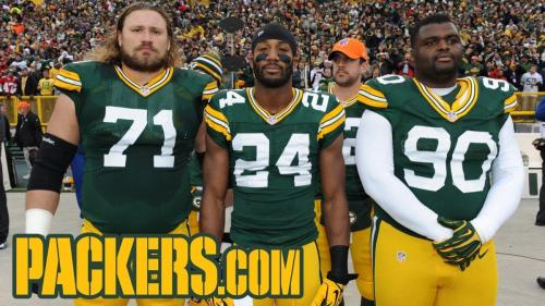 2012 Week 13: Minnesota Vikings Left to right: Josh Sitton, Jarrett Bush, B.J. Raji