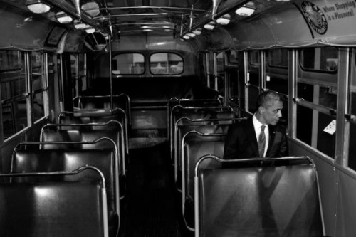 Yesterday was the 57th anniversary of the arrest of Rosa Parks. 57 years ago Rosa refused to move from her seat to the back of the bus. It was only 57 years ago that it was legal to tell someone just because of their skin color they had to give up their seat. Discrimination like this was widely accepted, it took one brave person to stand up and fight it.Yesterday President Obama visited the bus Rosa Parks was arrested in. It's a powerful photo.Don't forget the recent past.