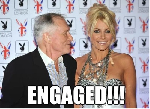 Congratulations to Playboy founder Hugh Hefner! He's engaged, again! This time it is to current girlfriend and Playmate Crystal Harris. We wish them all the best!