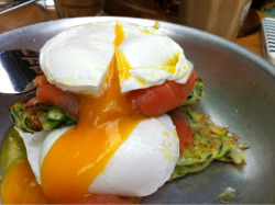 Oozy poach egg on smoke salmon and zucchini fritters. Fritters could have been more crispy and a sauce of sort would have been good to tie it all together. Perfectly poached eggs though…