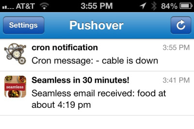 My homemade notifications using the Pushover app now tell me about cron (e.g. modem resets) & seamless delivery