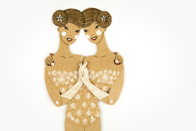 "$15Siamese Twins Maria Dubrovskayahand painted, articulated paper doll9.5"" tall when constructed make it mine"