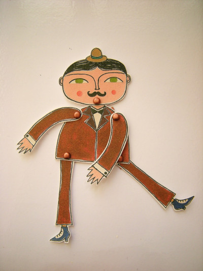 "$15CharlesCarol Warticulated paper doll 5.5"" tall when constructed make it mine"