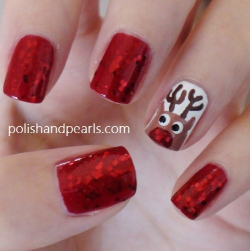 DIY Rudolph the Red Nose Reindeer Nose Nail Art Tutorial from Polish and Pearls here.