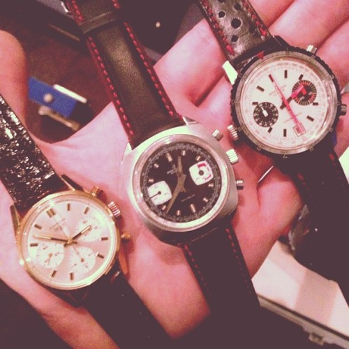 Three vintage chronos for sale at the @pop_up_flea. One more hour! (at Pop Up Flea)