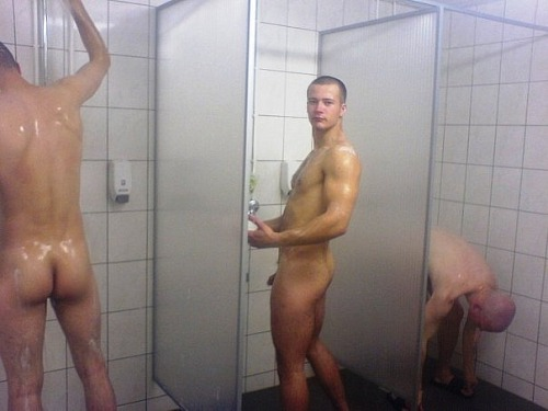 Three bros in the showers.