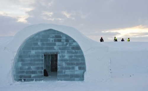 Ice hotel takes shape in Lapland (Photo: Jonathan Nackstrand / AFP - Getty Images) Work goes on at the construction site of the new Ice Hotel in the village of Jukkasjarvi in Swedish Lapland. The Ice Hotel, which gets a new design and is reconstructed every year, is dependent upon constant sub-freezing temperatures during construction and operation.  See more photos.