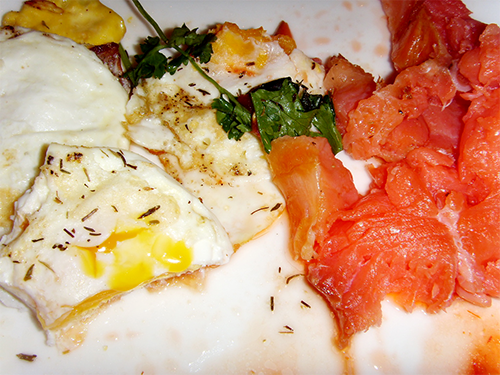 Eggs, smoked salmon, and herbs.
