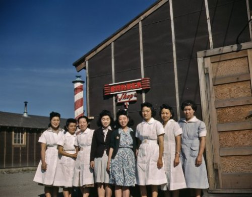 railways-and-roses:  Tule Lake Relocation Center near Newell, Calif., 1942 or 43. Women at the Japanese American relocation camps of World War II, photographer unknown.