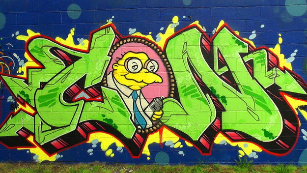 "ohmygodwaytoolong:  21 Street Artists Who Love The Simpsons [CLICK FOR MORE] They were saying ""Boo-erns""…to laws against vandalism."